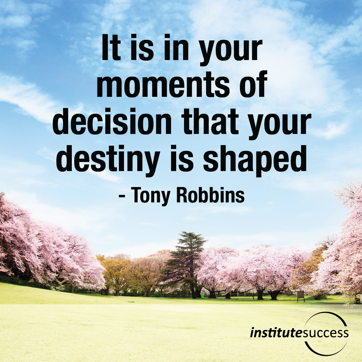 It is in your moments of decision that your destiny is shaped – Tony Robbins