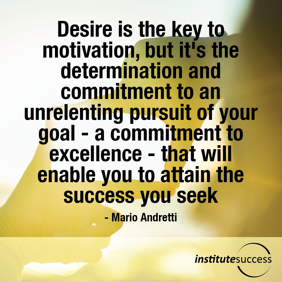 Desire is the key to motivation, but it's the determination and commitment to an unrelenting pursuit of your goal – a commitment to excellence – that will enable you to attain the success you seek – Mario Andretti