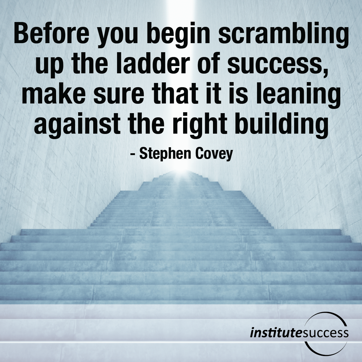 Before you begin scrambling up the ladder of success, make sure that it is leaning against the right building – Stephen Covey