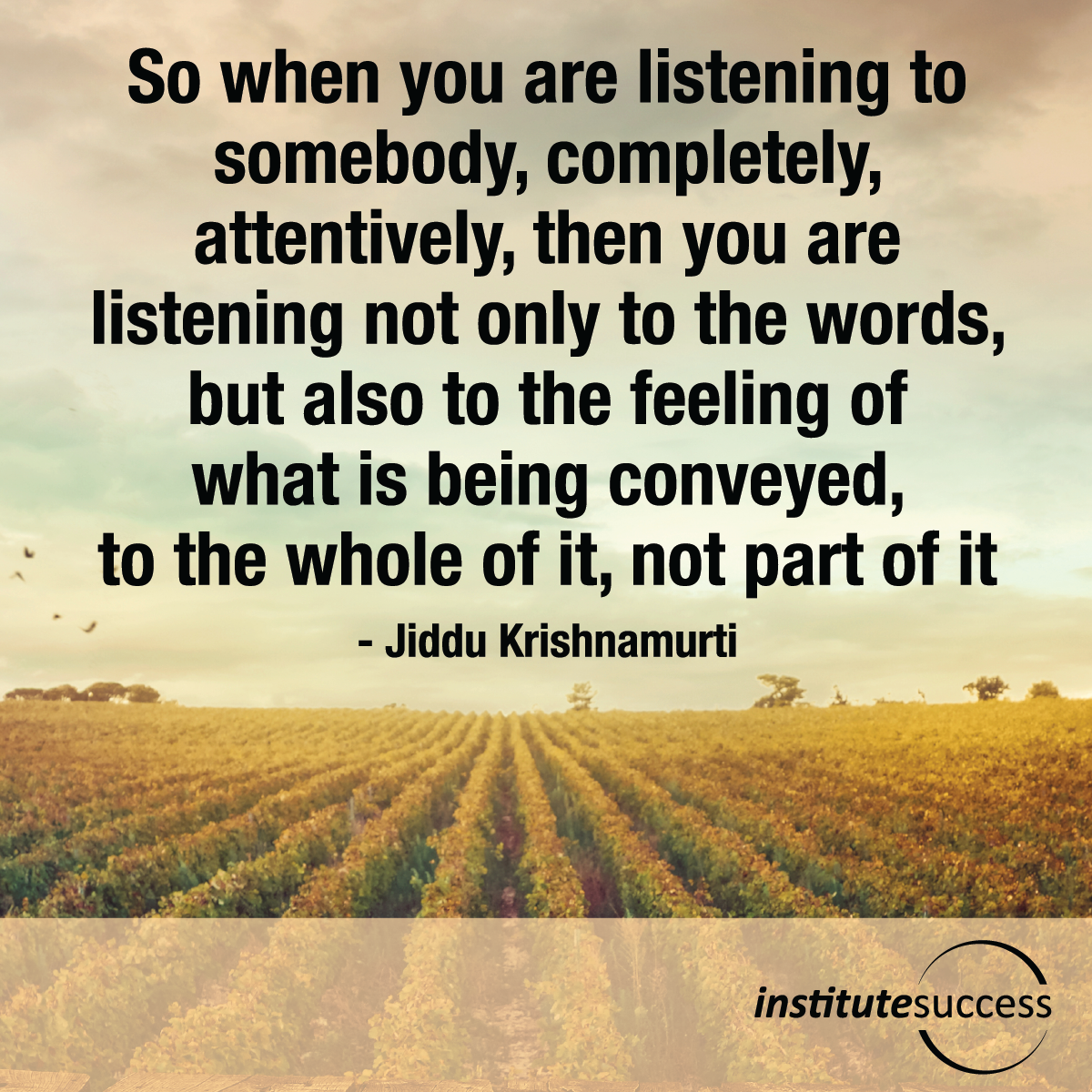 So when you are listening to somebody, completely, attentively, then you are listening not only to the words, but also to the feeling of what is being conveyed, to the whole of it, not part of it – Jiddu Krishnamurti
