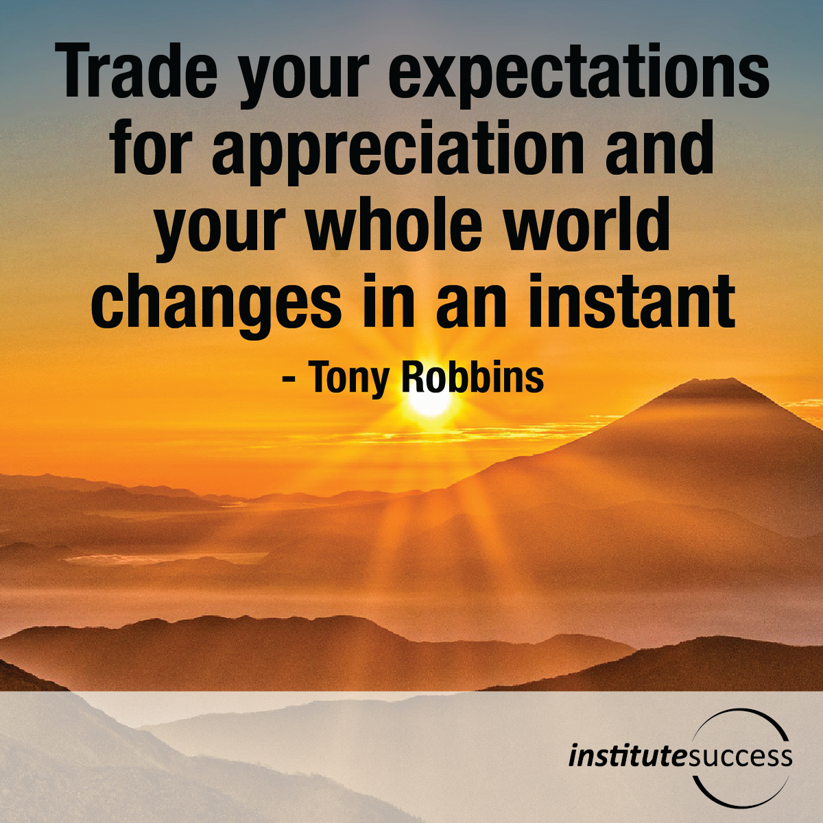 Trade your expectations for appreciation and your whole world changes in an instant – Tony Robbins