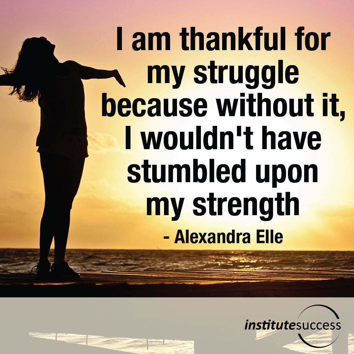 I am thankful for my struggle because without it, I wouldn't have stumbled upon my strength – Alexandra Elle