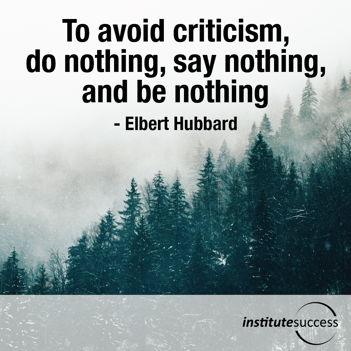 To avoid criticism, do nothing, say nothing, and be nothing –  Elbert Hubbard