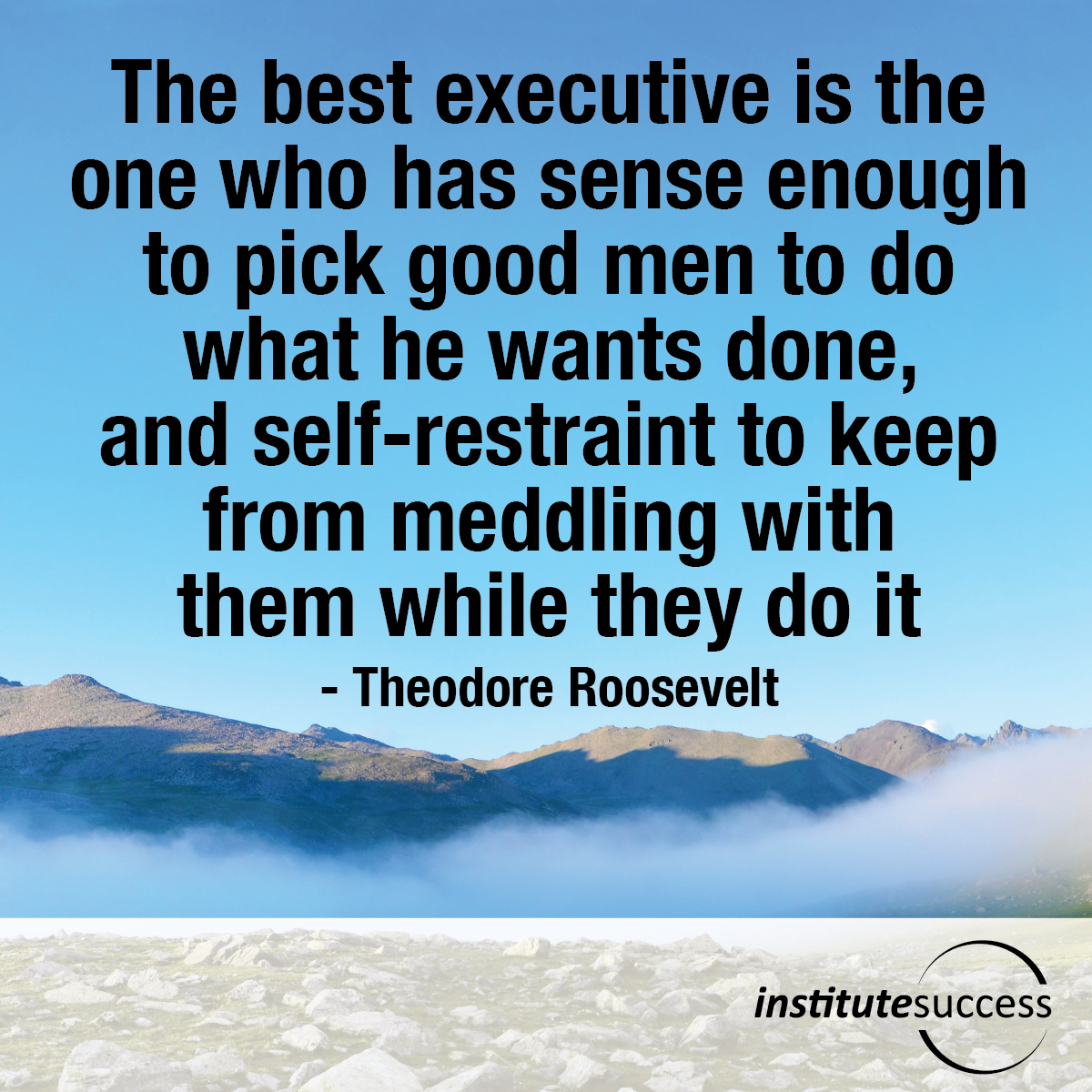 The best executive is the one who has sense enough to pick good men to do what he wants done, and self-restraint to keep from meddling with them while they do it – Theodore Roosevelt
