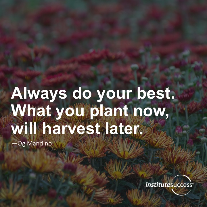 Always do your best. What you plant now, will harvest later.	Og Mandino